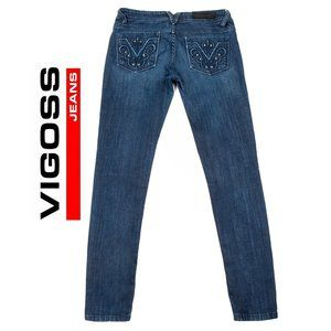 Vigoss Collection Skinny Rhinestone Jeans 3/4-27